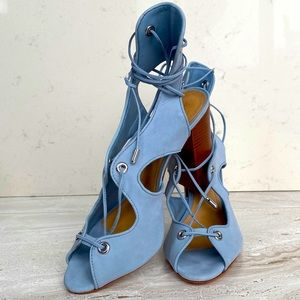 Schutz Hollie Lace Up Stacked Chunky Heels - Blue